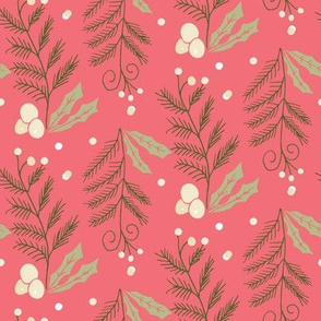 christmas holly leaves and pine needles pink