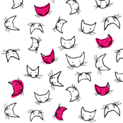 kitty faces in hot pink
