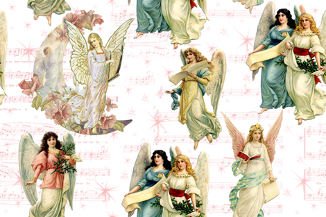 Angels on High fabric by lilyoake on Spoonflower - custom fabric