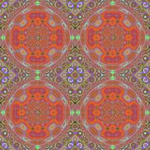 Tropical Tiles--Burnt Orange and Lavendertropical_mulitcolors_tiled_lens_distorted_18x21