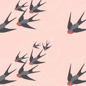 Diving Swallows in Rose