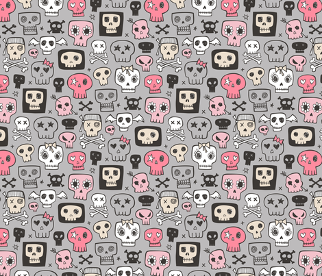 Skulls In Pink on Grey fabric by caja_design on Spoonflower - custom fabric