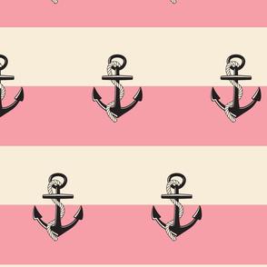 Anchor Stripes -Large buble gum cream