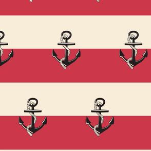 Anchor Stripes - Berry cream