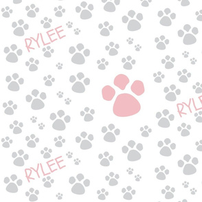 Paw Prints  MED - Dusty Rose gray PERSONALIZED for Rylee