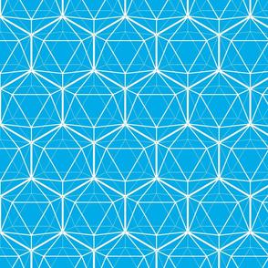 Icosahedron White on Bright Blue