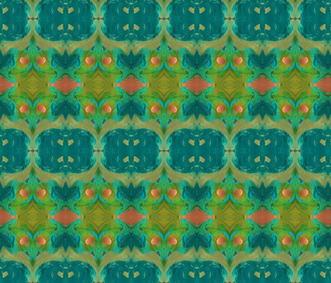 PaintGalaxyBoho_Olive_ForestGr_Teal_Coral fabric by perrastudios on Spoonflower - custom fabric