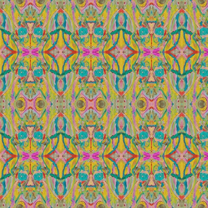 PainterlyOrganicAbstract_mustard_mag_red_gr_teal