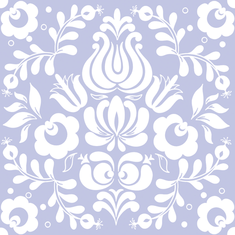 Ingela in white on blue-violet fabric by lilyoake on Spoonflower - custom fabric
