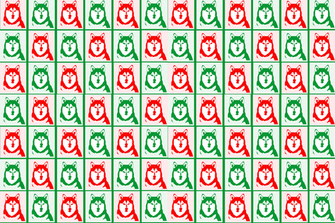 Malamute Holiday design gift wrap and fabric fabric by maladjusted on Spoonflower - custom fabric