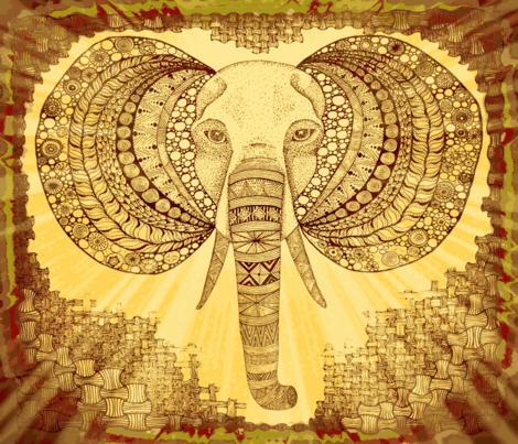 Elephant zen kalahari FQ fabric by jenny_healy on Spoonflower - custom fabric