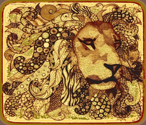 Lion zen Kalahari  fabric by jenny_healy on Spoonflower - custom fabric