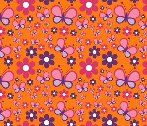 Butterfly_Flower fabric by chelle's_creations on Spoonflower - custom fabric