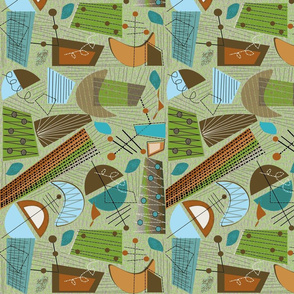 Abstract in Green Mid-Century