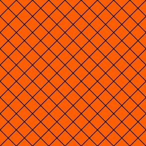 Diamonds - 2 inch - Black Outlines on Orange (#FF5F00)