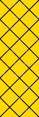 Fishnet Diamonds - 2 inch (5.08cm) - Black Outlines (#000000) on Yellow (#FFD900)