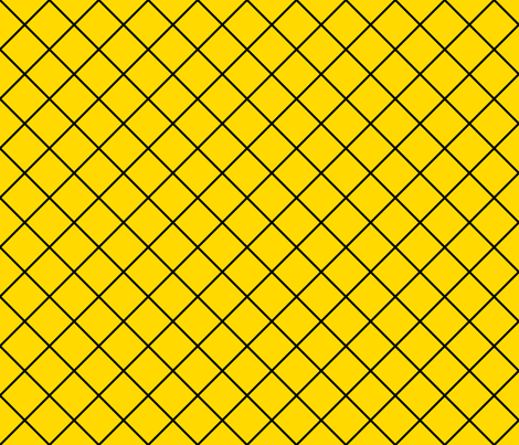 Fishnet Diamonds - 2 inch (5.08cm) - Black Outlines (#000000) on Yellow (#FFD900) fabric by elsielevelsup on Spoonflower - custom fabric