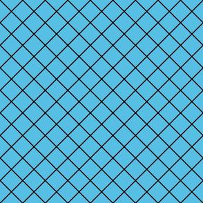 Diamonds - 2 inch - Black Outlines on Light Blue (#57BEE4)