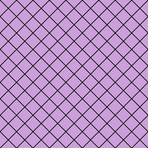 Diamonds - 2 inch - Black Outlines on Pale Purple (#CB9FD9)