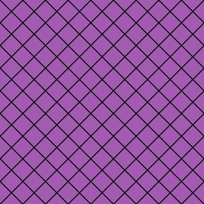 Diamonds - 2 inch - Black Outlines on Light Purple (#A25BB1)