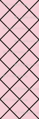 Diamonds - 2 inch - Black Outlines on Pale Pink (#F5CCD3)