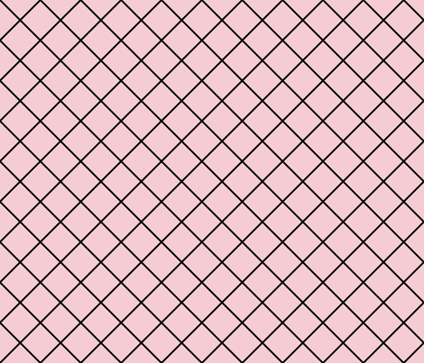 Diamonds - 2 inch - Black Outlines on Pale Pink (#F5CCD3) fabric by elsielevelsup on Spoonflower - custom fabric