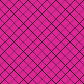 Diamonds - 2 inch - Black Outlines on Dark Pink (#DD2695)