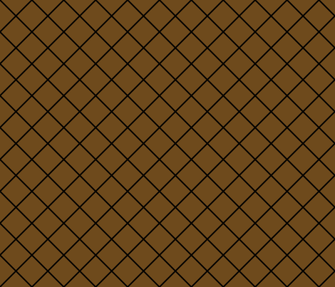 Diamonds - 2 inch - Black Outlines on Dark Brown (#6E4A1C) fabric by elsielevelsup on Spoonflower - custom fabric