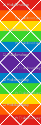 Diamonds - 2 inch - White Outlines on Rainbow Stripes