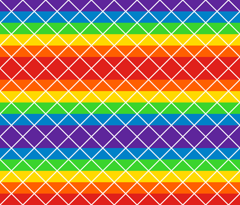 Diamonds - 2 inch - White Outlines on Rainbow Stripes fabric by elsielevelsup on Spoonflower - custom fabric