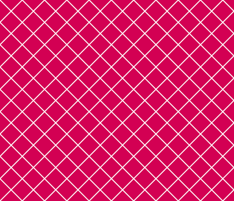 Diamonds - 2 inch - White Outlines on Dark Pink (#D30053) fabric by elsielevelsup on Spoonflower - custom fabric