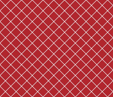 Diamonds - 2 inch - White Outlines on Dark Red (#B1252C) fabric by elsielevelsup on Spoonflower - custom fabric