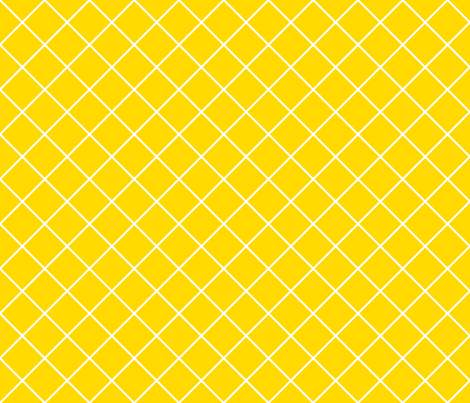 Diamonds - 2 inch - White Outlines on Yellow (#FFD900) fabric by elsielevelsup on Spoonflower - custom fabric