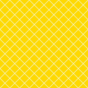 Diamonds - 2 inch - White Outlines on Yellow (#FFD900)