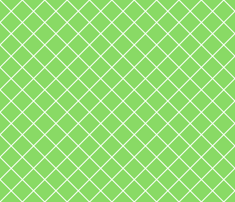 Diamonds - 2 inch - White Outlines on Pale Green (#89DA65) fabric by elsielevelsup on Spoonflower - custom fabric
