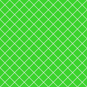 Diamonds - 2 inch - White Outlines on Light Green (#3AD42D)