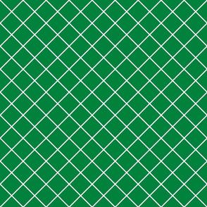 Diamonds - 2 inch - White Outlines on Dark Green (#00813C)