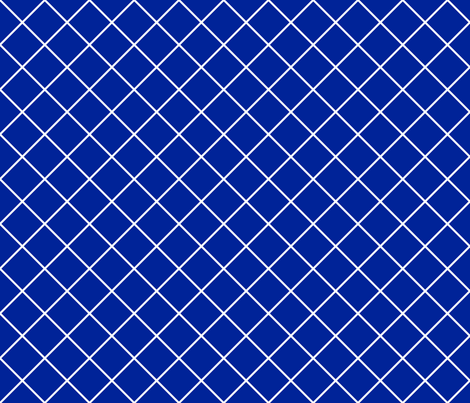 Diamonds - 2 inch - White Outlines on Dark Blue (#002398) fabric by elsielevelsup on Spoonflower - custom fabric