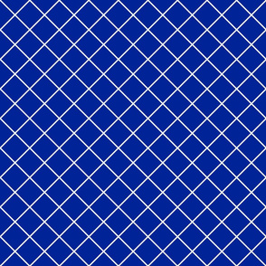 Diamonds - 2 inch - White Outlines on Dark Blue (#002398)
