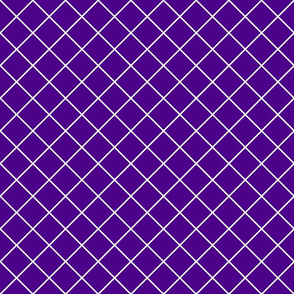 Diamonds - 2 inch - White Outlines on Dark Purple (#4D008A)