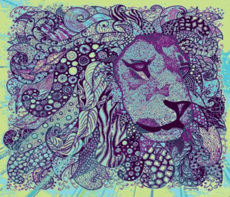 Lion zen okovango fabric by jenny_healy on Spoonflower - custom fabric
