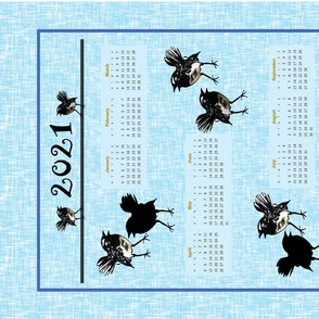 Willie Wagtails, tea towel calendar (traditional) by Su_G_©SuSchaefer