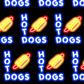 Dean's Neon Hot Dog Signs at Night