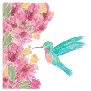 Watercolor Hummingbird Art Panel