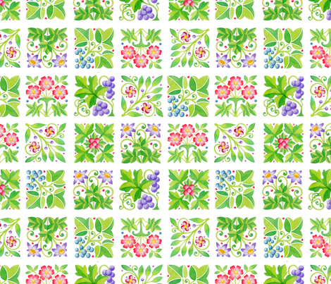Tudor Parterre Flowers fabric by patriciasheadesigns on Spoonflower - custom fabric