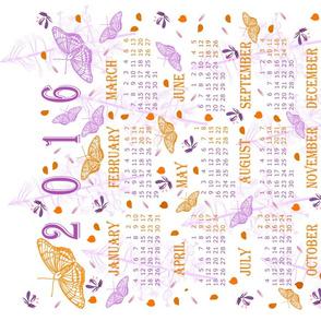 2016 Purple and Orange Butterflies Calendar