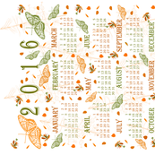 2016 Orange and Green Butterfly Calendar