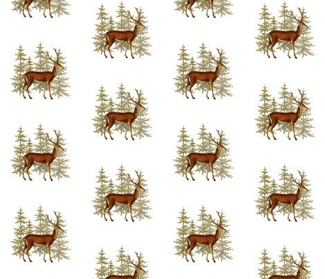 Deer in the woods fabric by jennifer_rizzo on Spoonflower - custom fabric