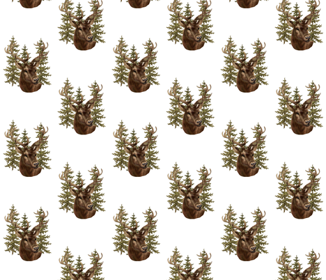 Stag and pine  fabric by jennifer_rizzo on Spoonflower - custom fabric