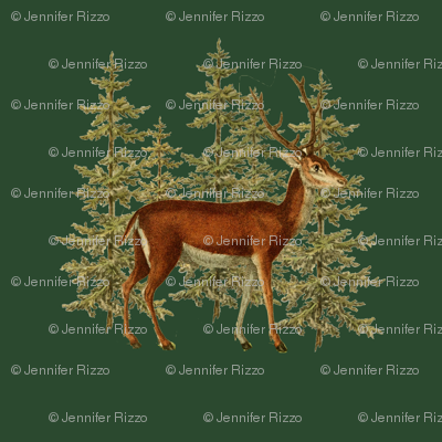 Vintage_deer_in_woods_green